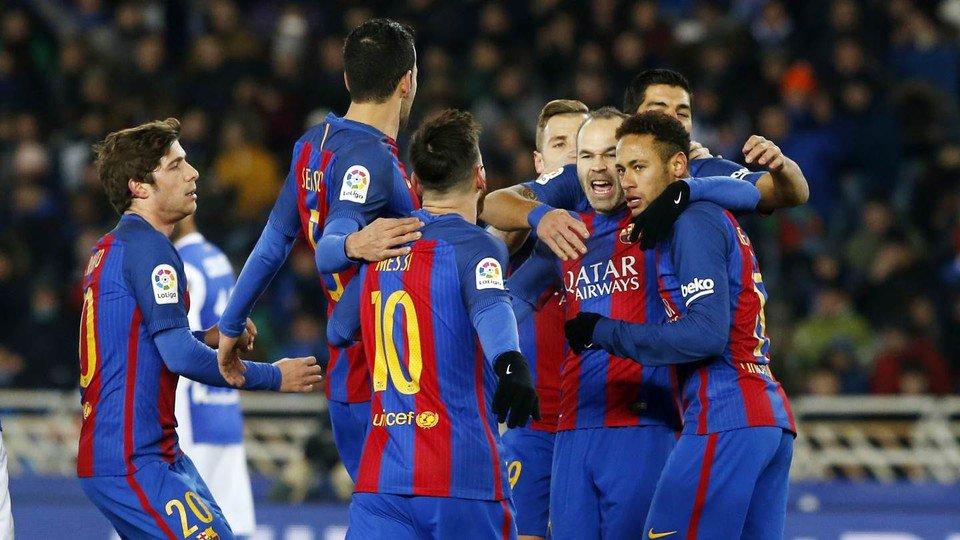 Barcelona berhasil menang tipis atas Real Sociedad dengan skor 0-1.